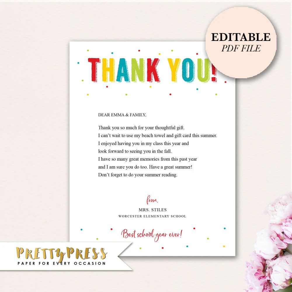 Editable Thank You Note Teachers Thank You Note Instant  Etsy