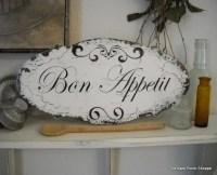 BON APPETIT French Kitchen Signs Shabby Vintage Style 14 x ...