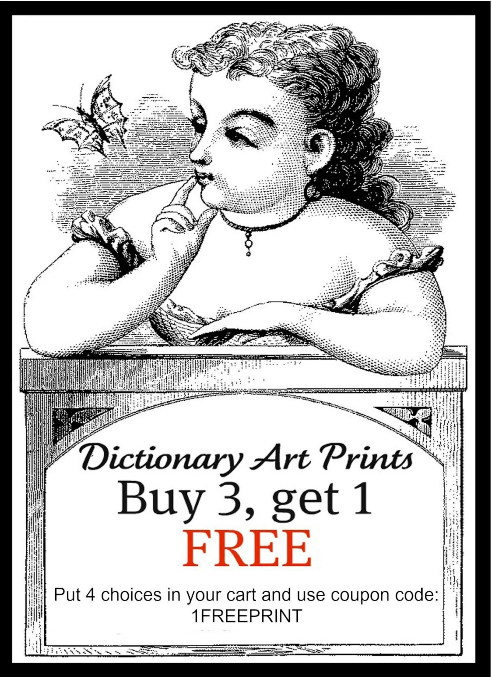 Art Print EDGAR ALLAN POE 8x10 Dictionary Gold Gilded