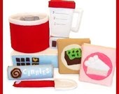 MIXING SET - PDF Felt Food Pattern (Mixer, Blender, Cake Mix, Brownie Mix, Cinnamon Rolls, Spatula)