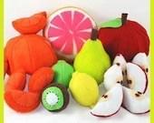 FUN FRUIT - PDF Felt Food Pattern (Apple and Orange Slices and Peels, Lemon, Lime, Kiwi, Grapefruit, Pear)