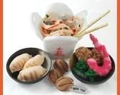 Chinese Take Out - PDF Felt Food Pattern (Chow Mein, Shrimp, Tempura Shrimp, Peas, Broccoli, Fortune Cookie, Gyoza, Take Out Box)