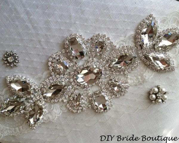 Rhinestone Applique Large Crystal Wedding