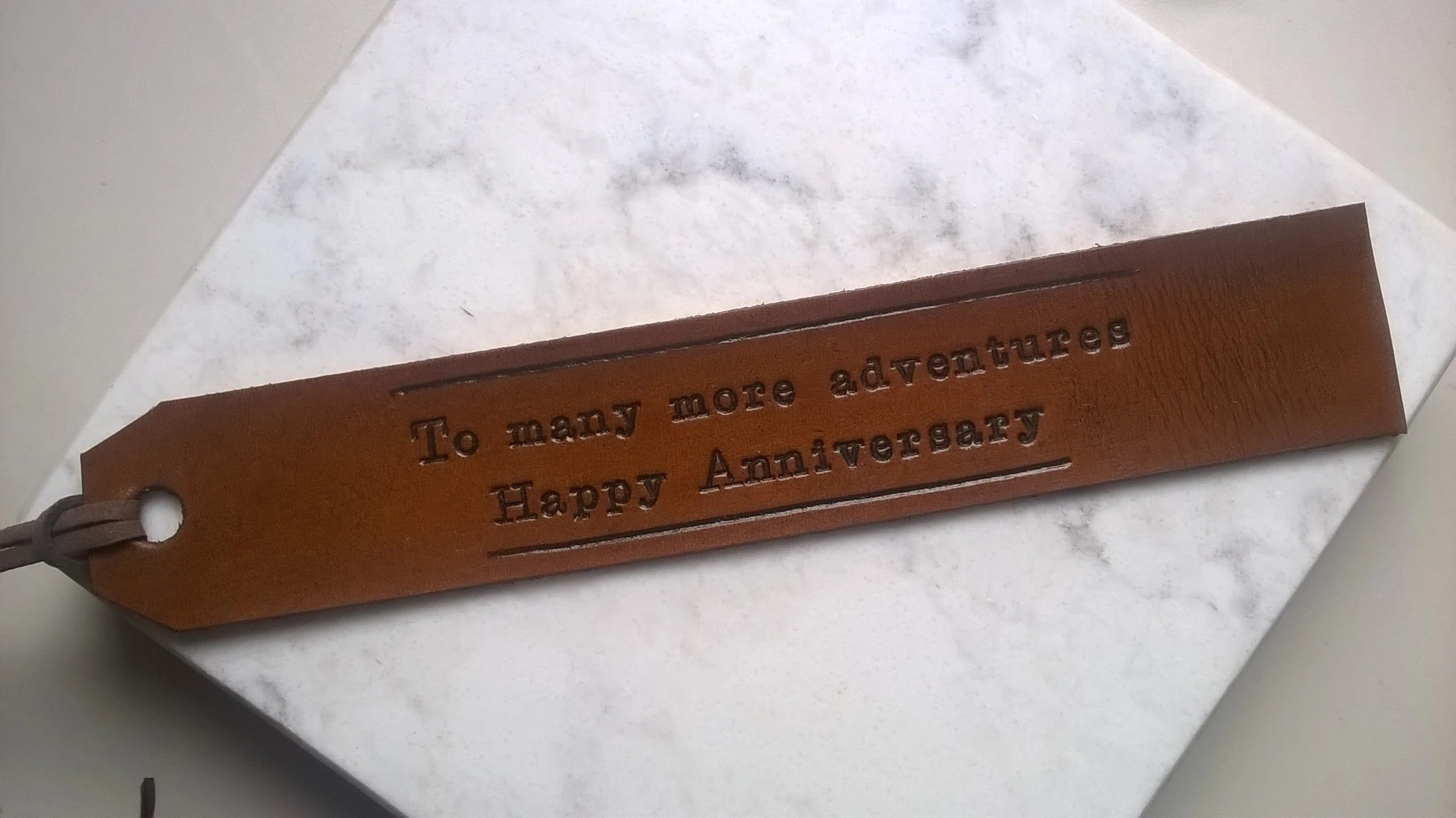3rd Anniversary  Long Text  Personalized Leather Bookmark image 3