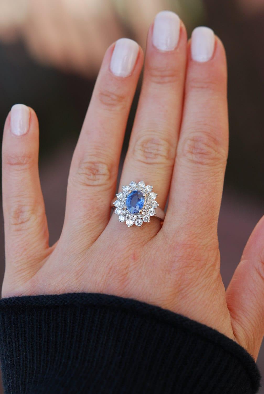 SaphirVerlobungsringBlauer Saphir 18k Weissgold Diamant