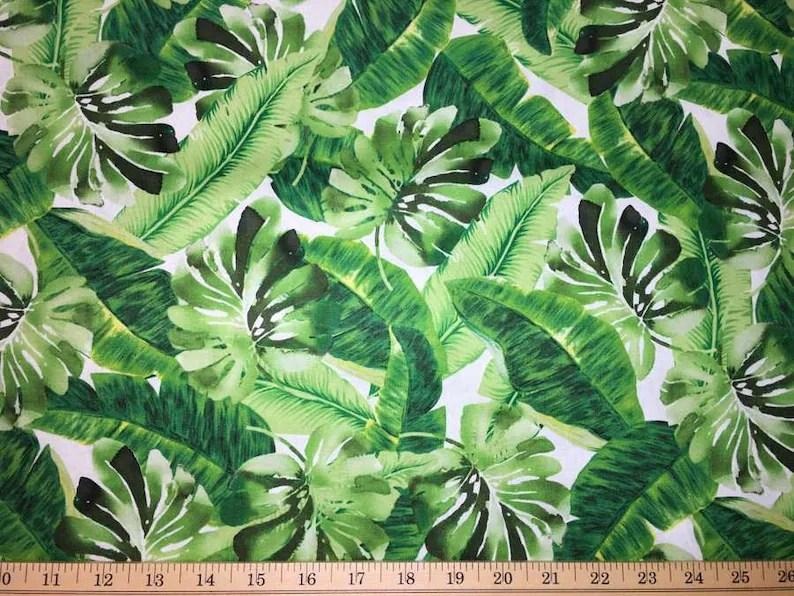 tropical green leaf fabric