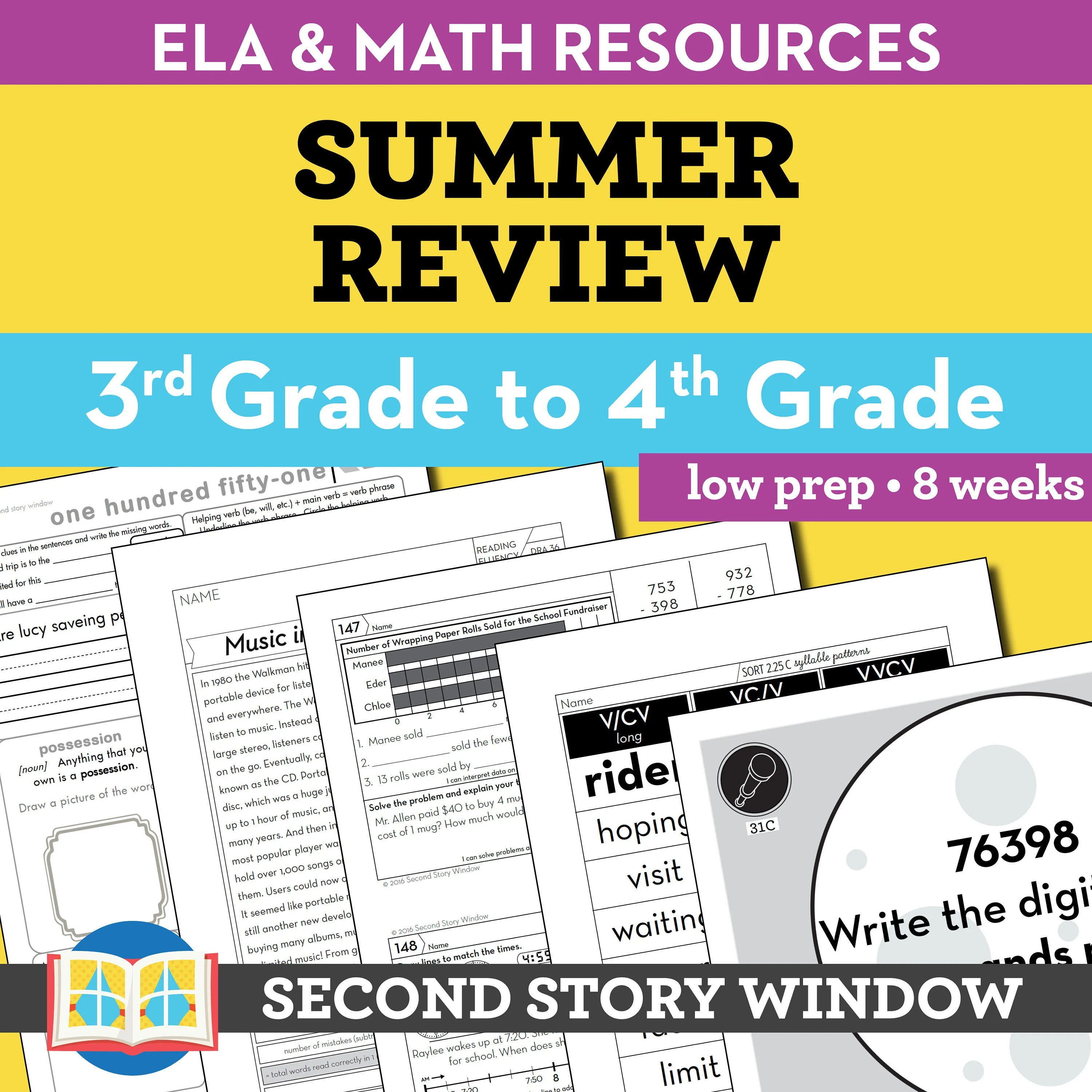 Summer Review 3rd Grade Spiral Review Worksheets