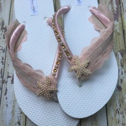 6cf8c42256e9 Blush Starfish Bridal Flip Flops Pink Beach Sandals For Etsy