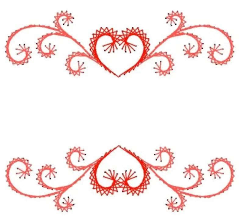 heart swirl border label