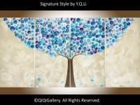 Large wall art Whimsical art Blue Purple beige acrylic | Etsy