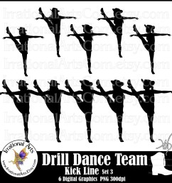 drill dance team kick line silhouettes set digital etsy jpg 1499x1500 high kick dancer clipart [ 1499 x 1500 Pixel ]