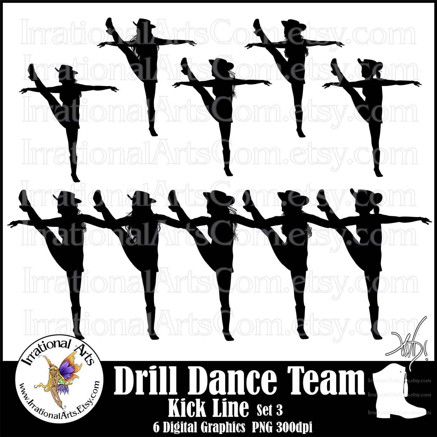 hight resolution of drill dance team kick line silhouettes set digital etsy jpg 1499x1500 high kick dancer clipart
