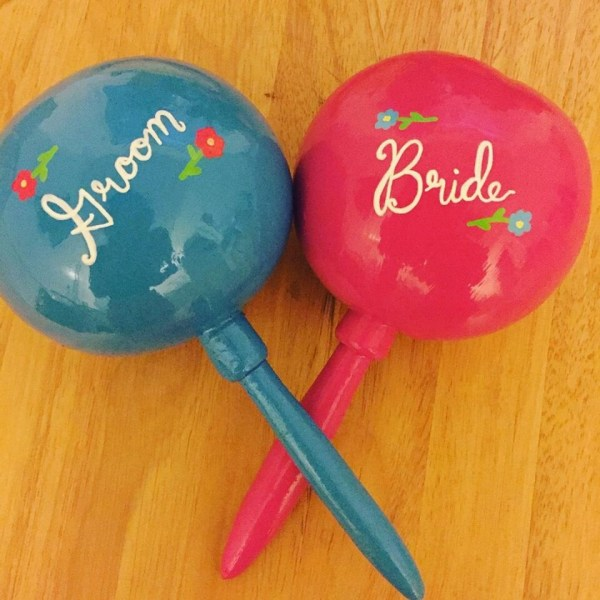 Maracas 1 Pair Bride And Groom Personalized Hand