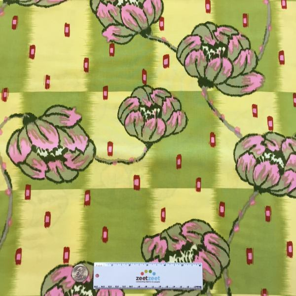 Amy Butler Lotus Water Lily Floral Lime Green Yellow