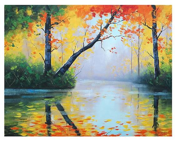 original oil painting river impressionist