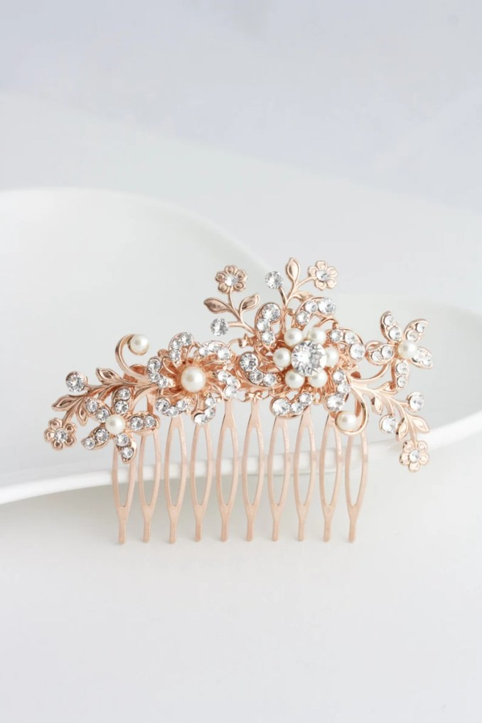 floral wedding hair comb rose gold bridal hair accessory swarovski crystal leaves flower bridal comb for spring wedding brides sabine comb