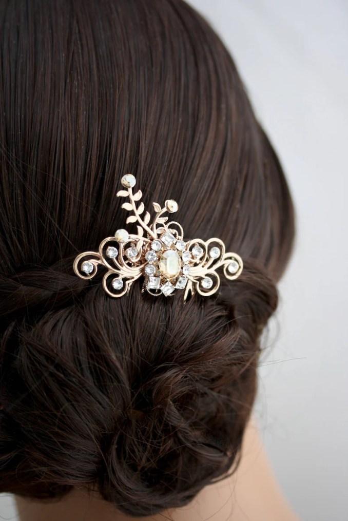 rose gold hair comb champagne bridal hair accessories small bridal hair comb wedding hair piece decorative hair comb mercy