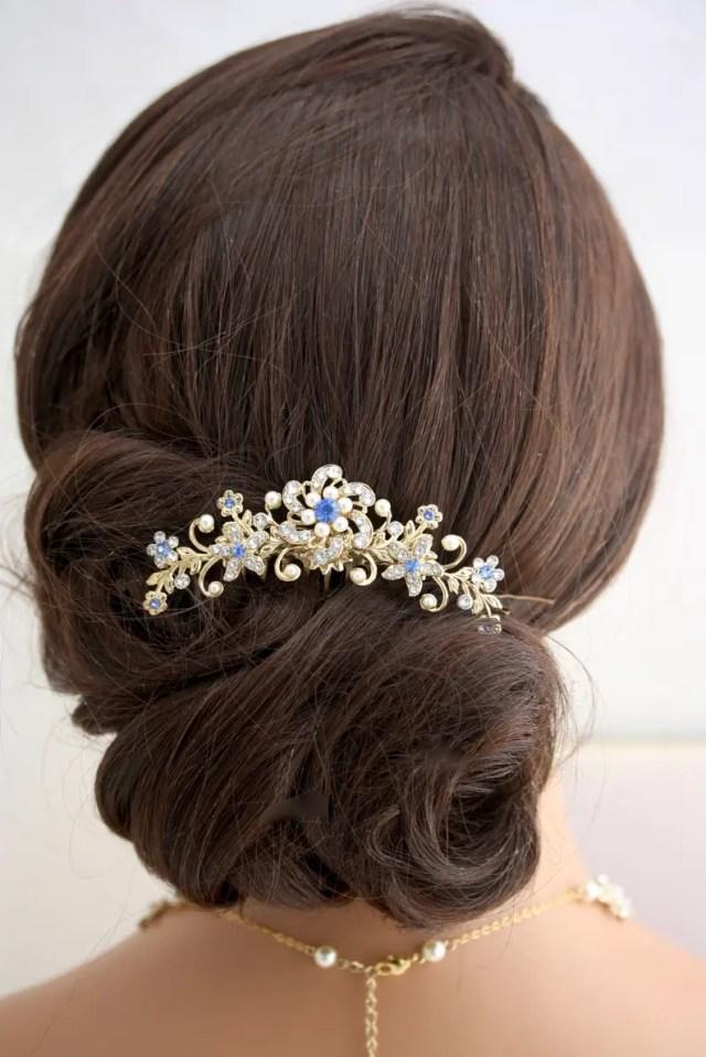 bridal hair comb blue wedding hair accessories something blue hair comb floral headpiece vine comb blue comb decorative hair comb sabina