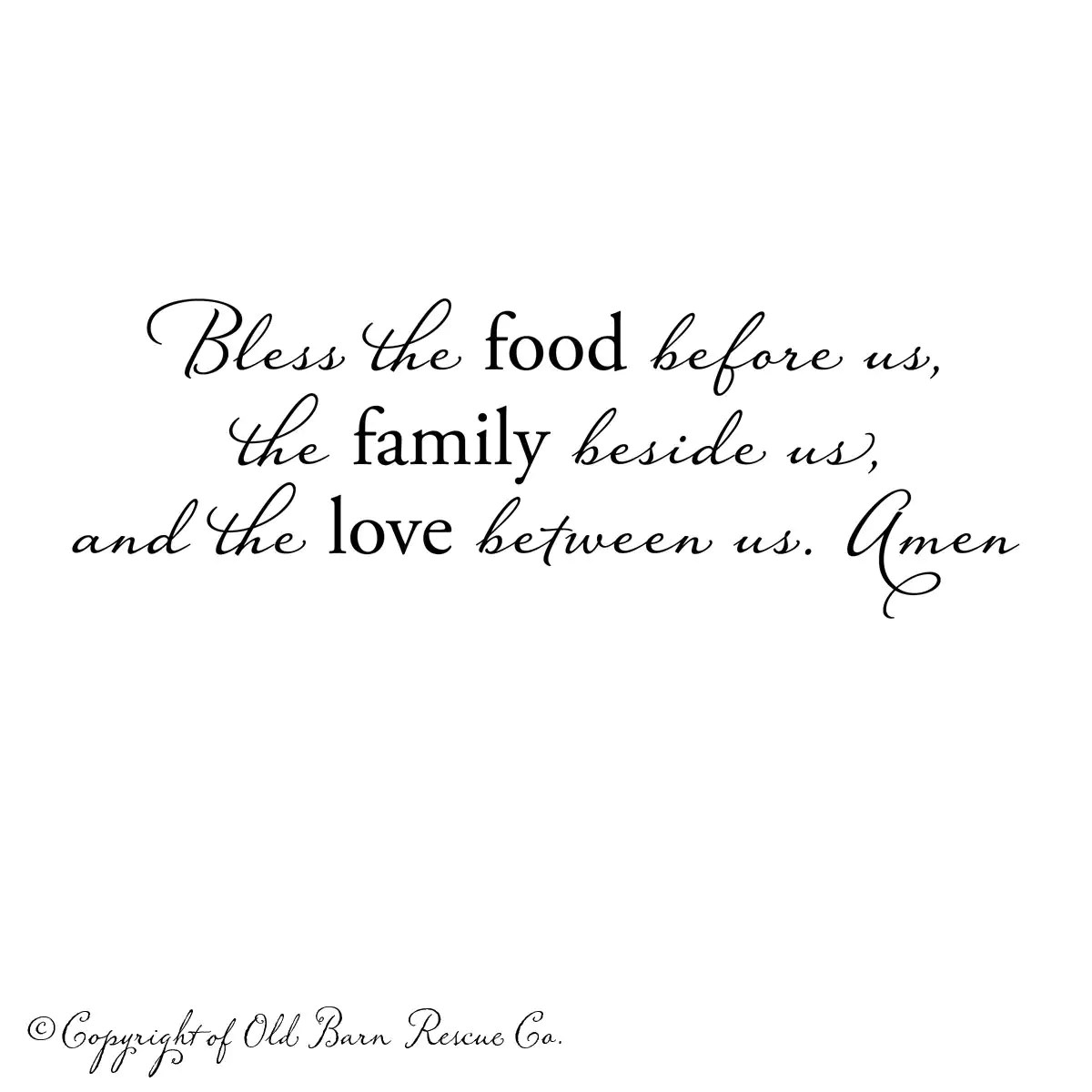 Bless the food before us...prayer wall decal