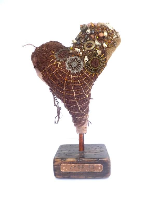 Fiber Art Heart Sculpture Bead Embroidery Home Decor