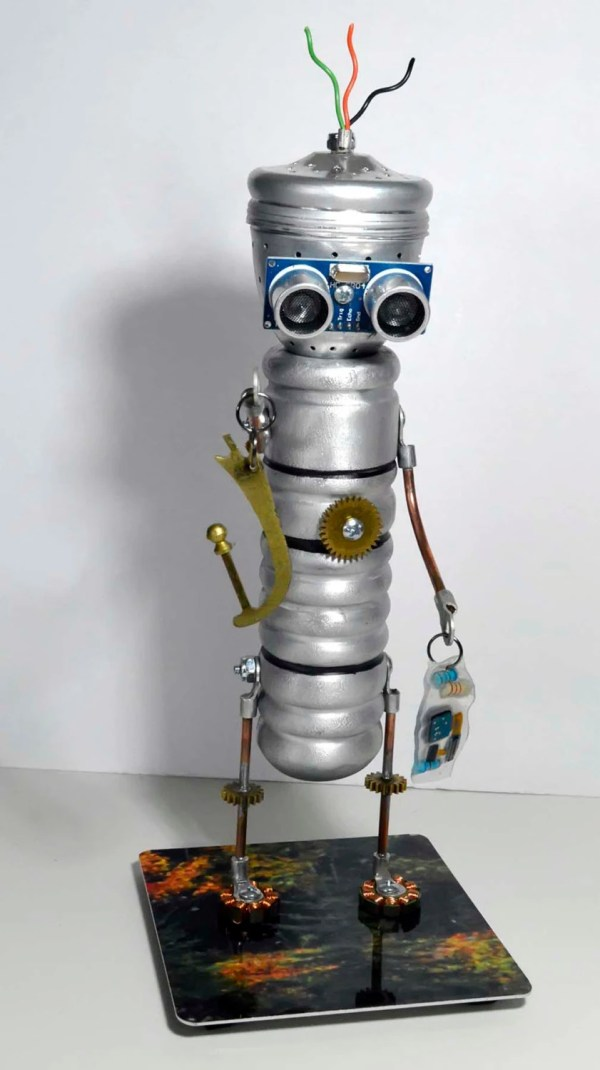 Wire Hair Robot Fishing Float Steampunk Art Sculpture