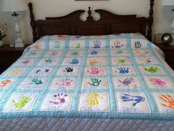 Custom made handprint quilt image 0