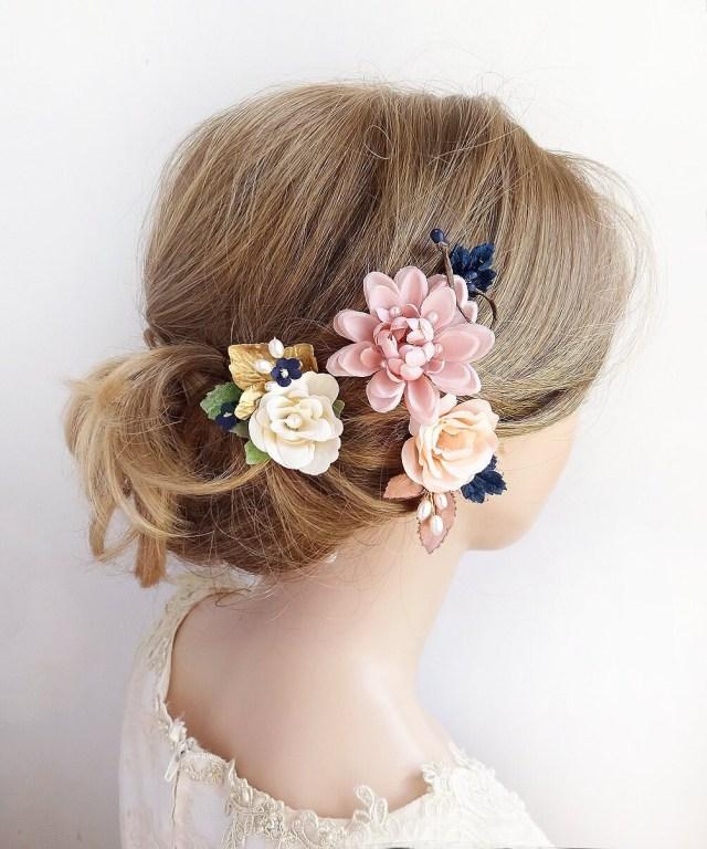 bridal headpiece rose gold, mauve hair clip, navy hair accessory, bridal headpiece floral, navy wedding hair piece, floral hair pins, pearl
