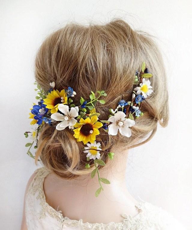 sunflower headpiece, wedding hair piece, sunflower hair clip, yellow and blue hair clip, royal blue, bridal headpiece sunflower and daisy