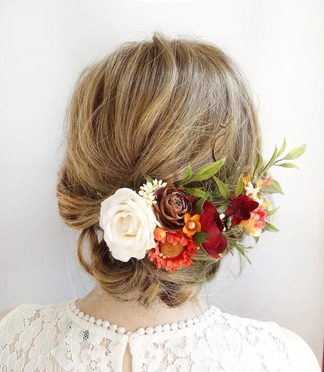 fall hair comb, fall hair clip, wedding hair piece, orange wedding dress, fall wedding headpiece, rustic wedding hair, bridal headpiece