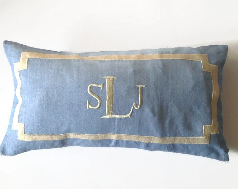 monogram lumbar pillow etsy