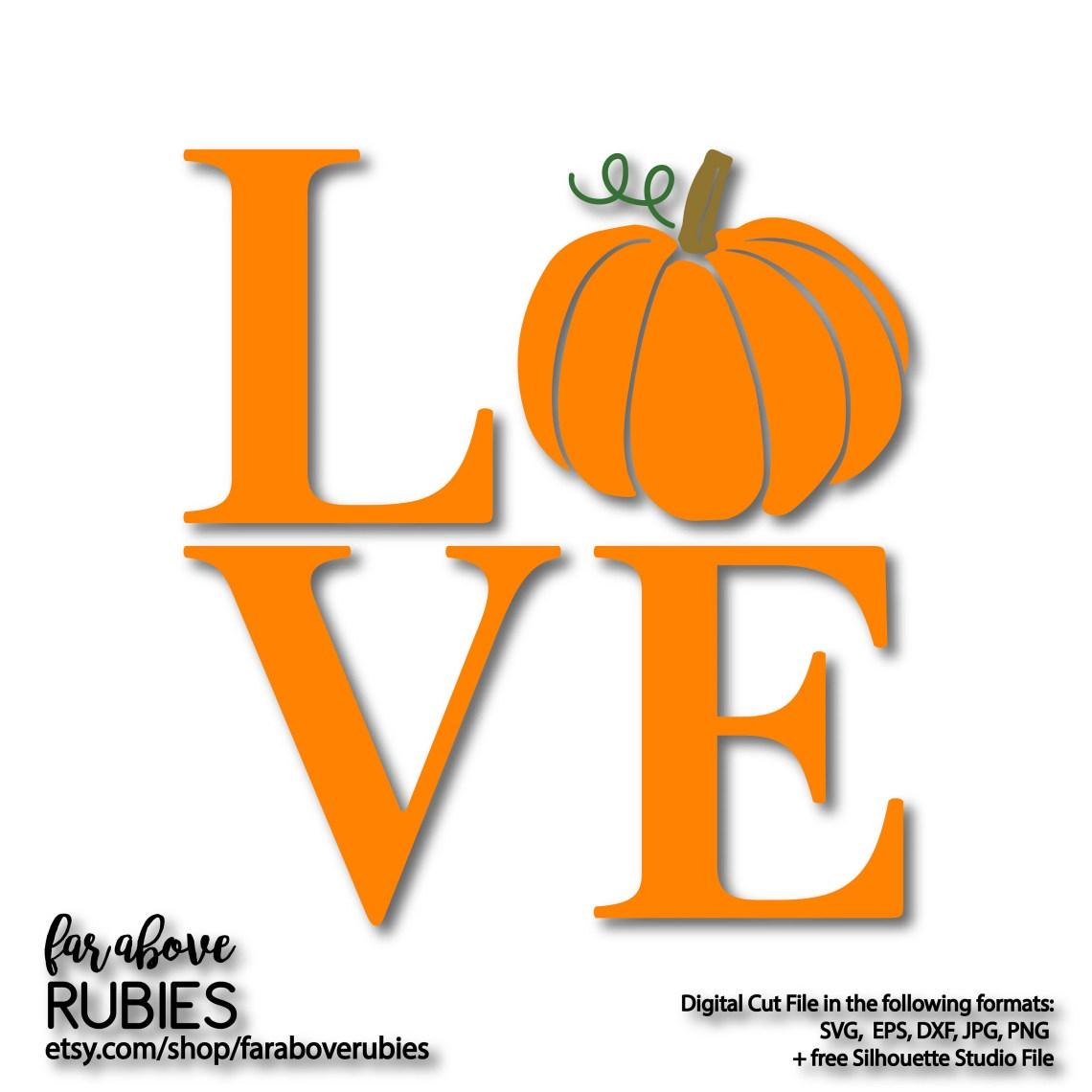 Download LOVE Pumpkin Fall Autumn Halloween SVG EPS dxf png jpg | Etsy