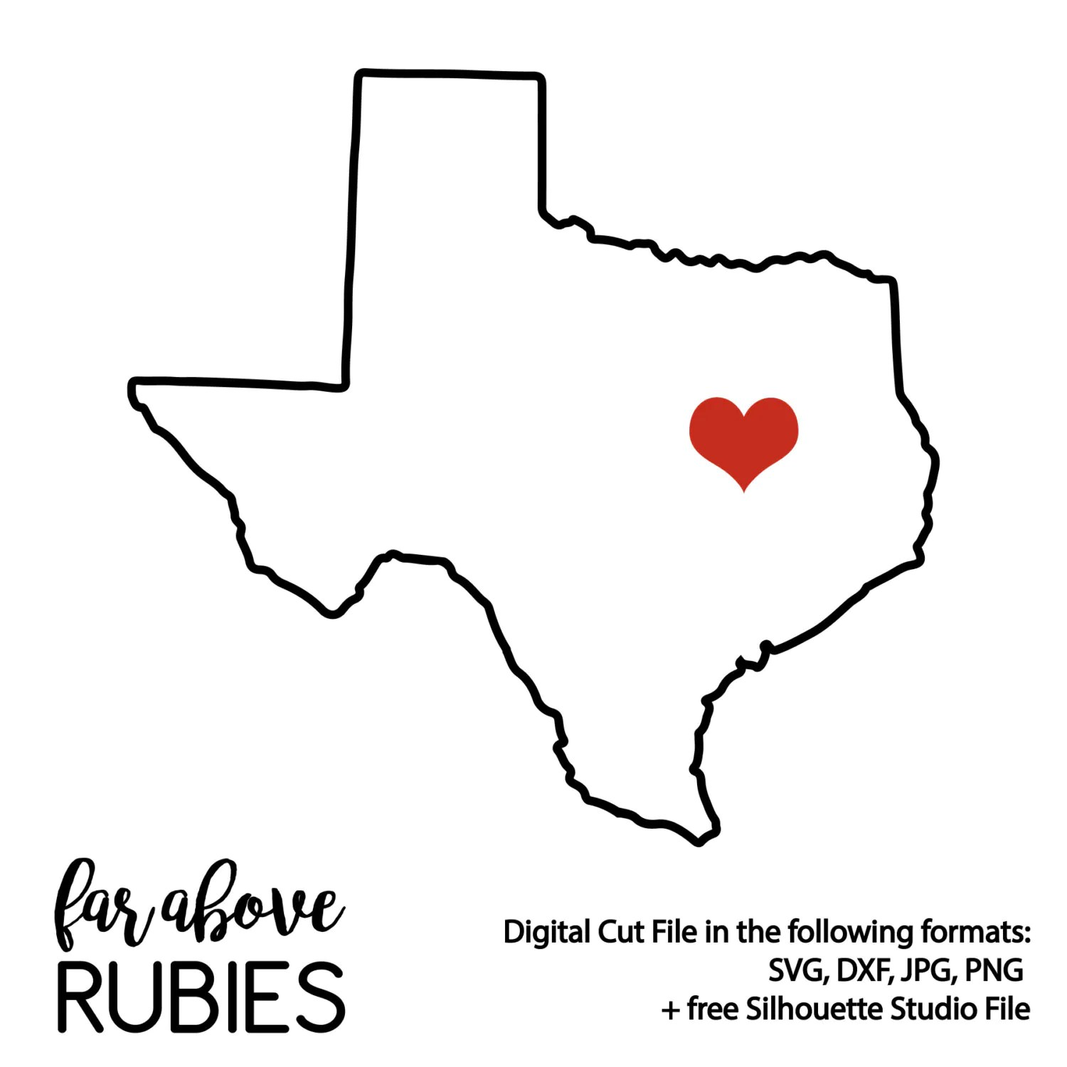 State of Texas Silhouette Shape SVG & DXF digital cut file