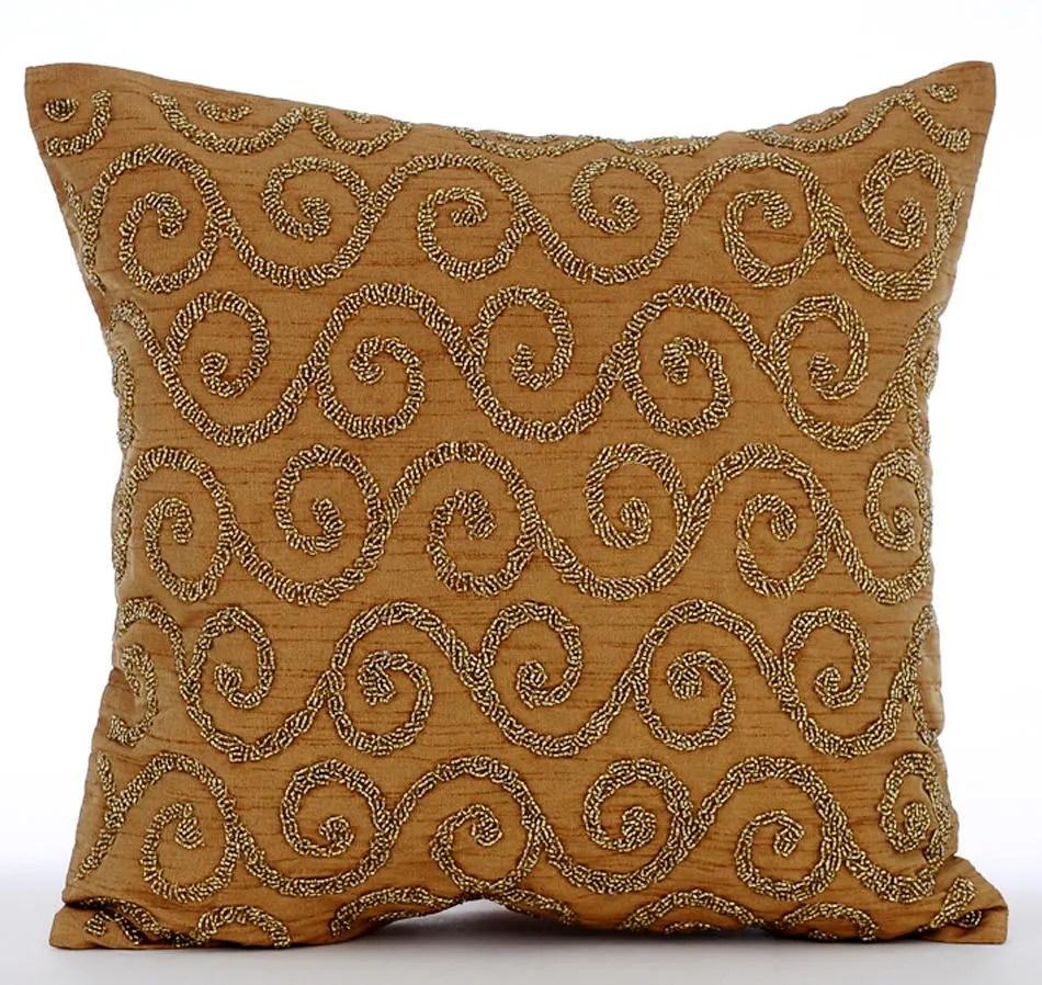Handmade Gold Decorative Pillow Cover 16x16 Silk  Etsy