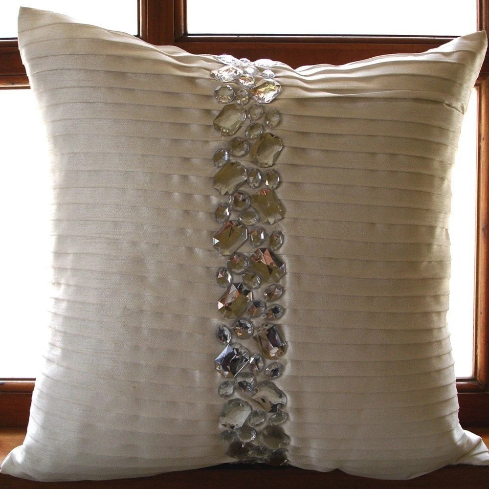 Luxury White Decorative Pillows Cover 16x16 Silk