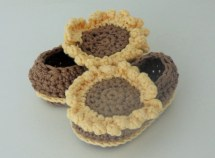 Crochet Pattern Baby Booties Shoes Sunflower