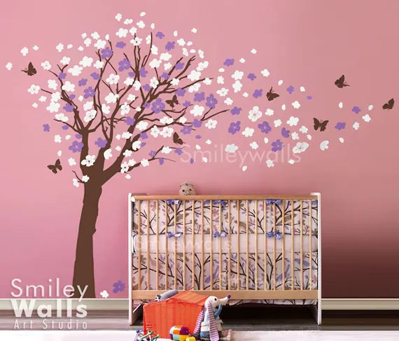 cherry blossom tree wall decal cherry blossom wall decal etsy