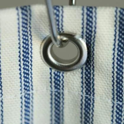 navy blue ticking stripe shower curtain standard or extra long sizes