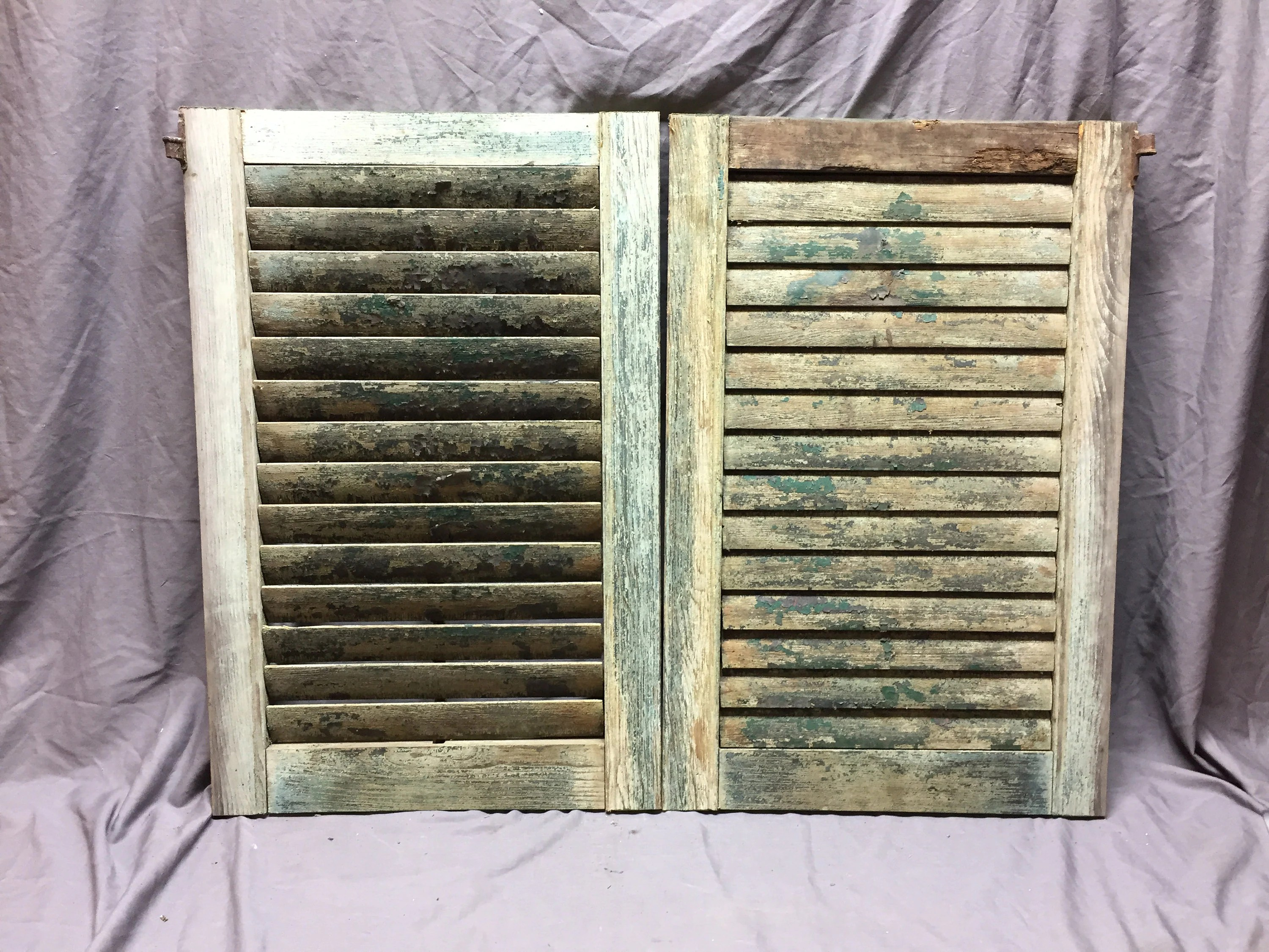 Small Pair Antique Faded Green House Window Wood Louvered Shutters 19x29 Shabby Vintage Chic 561 18