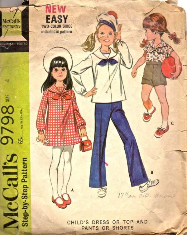 Mccalls 9798 1960s Girls Nautical Sailor Dress Top Pants