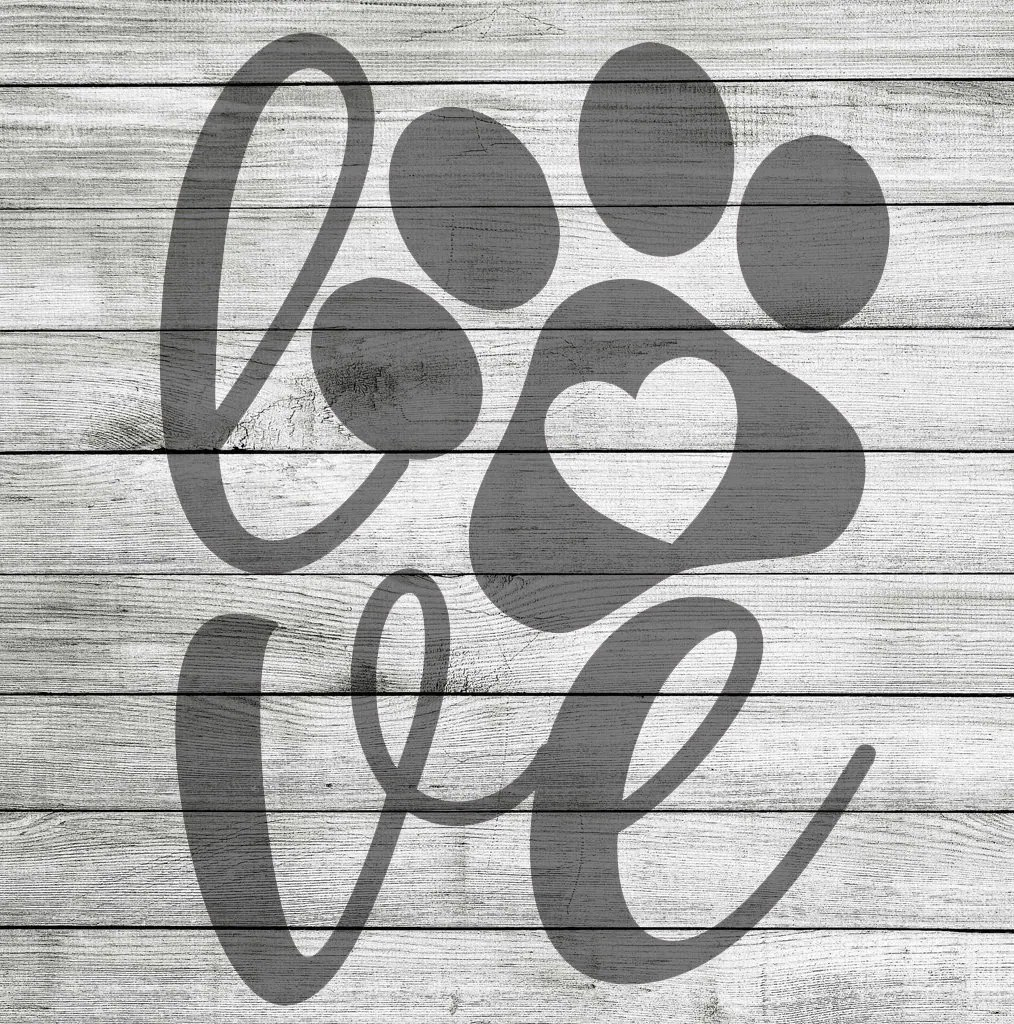 Download LOVE with paw print and heart cut out SVG and JPG ...