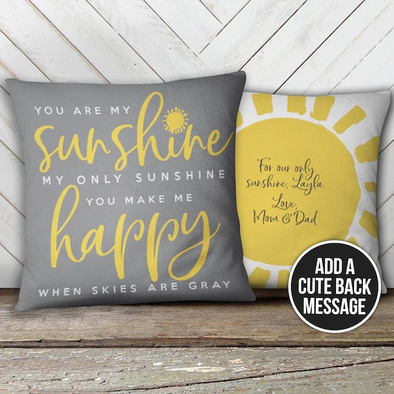 you are my sunshine pillow throw pillow customized you are my sunshine lyrics throw pillow pil 087