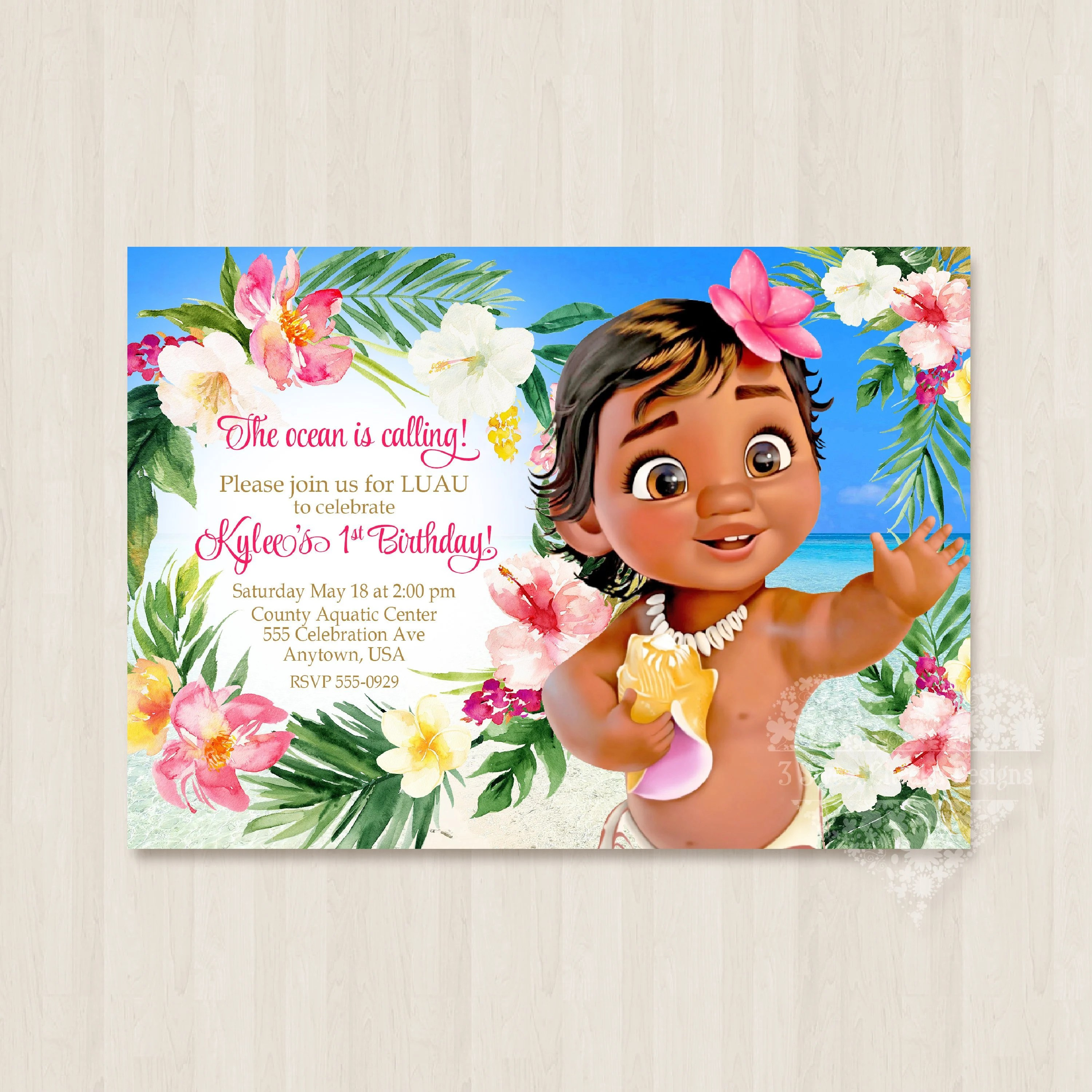 baby moana invitation digital file pink adorable cute girl birthday party personalized luau pool party