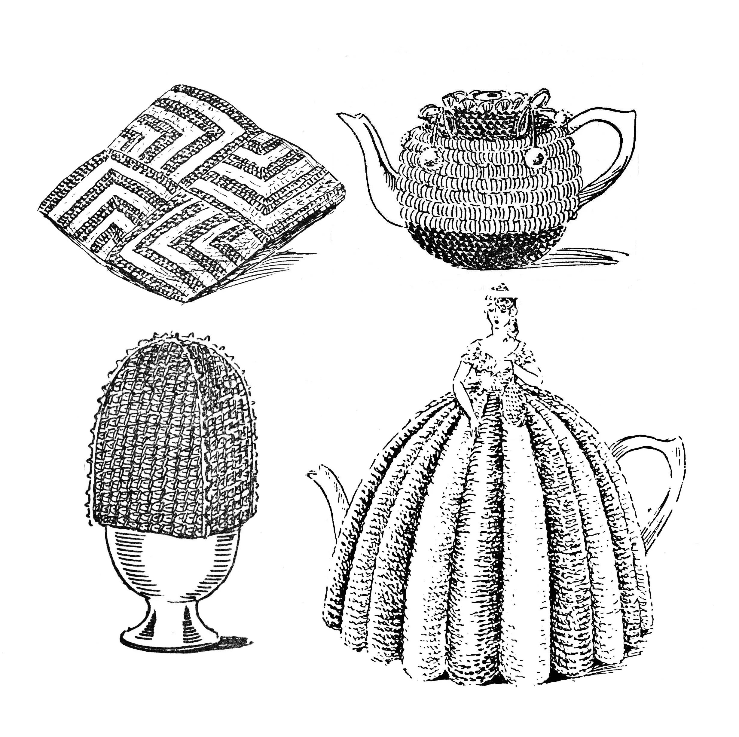 Cosies. Knitted and Crocheted Vintage Tea Cosy Patterns