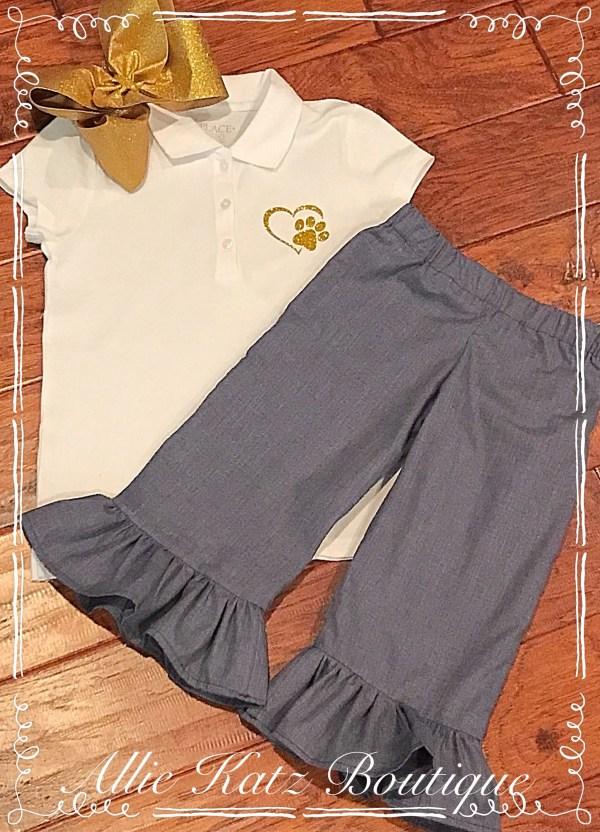 School Uniform Approved Ruffle Capris Khaki Navy