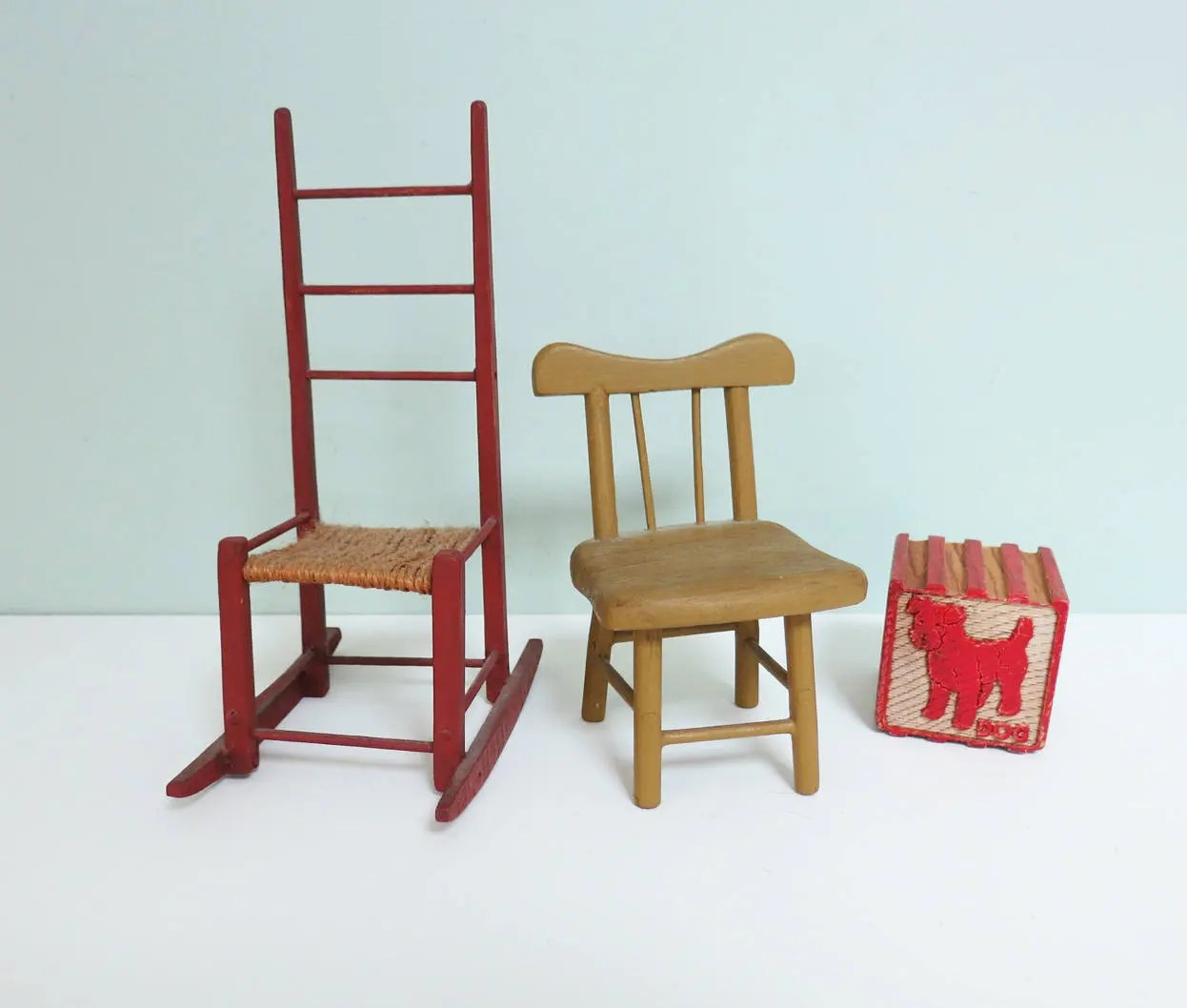 handmade wooden chairs table high chair babies r us two miniature signed by the maker in etsy image 0