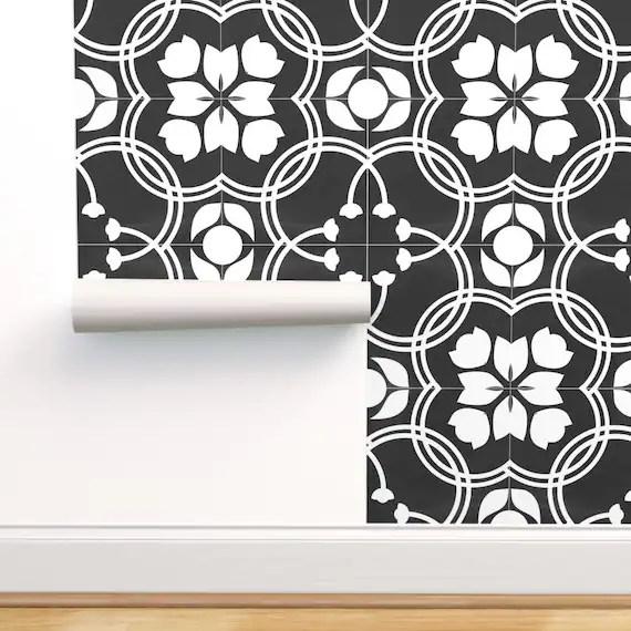 spanish tile wallpaper modern farmhouse by mintedtulip etsy