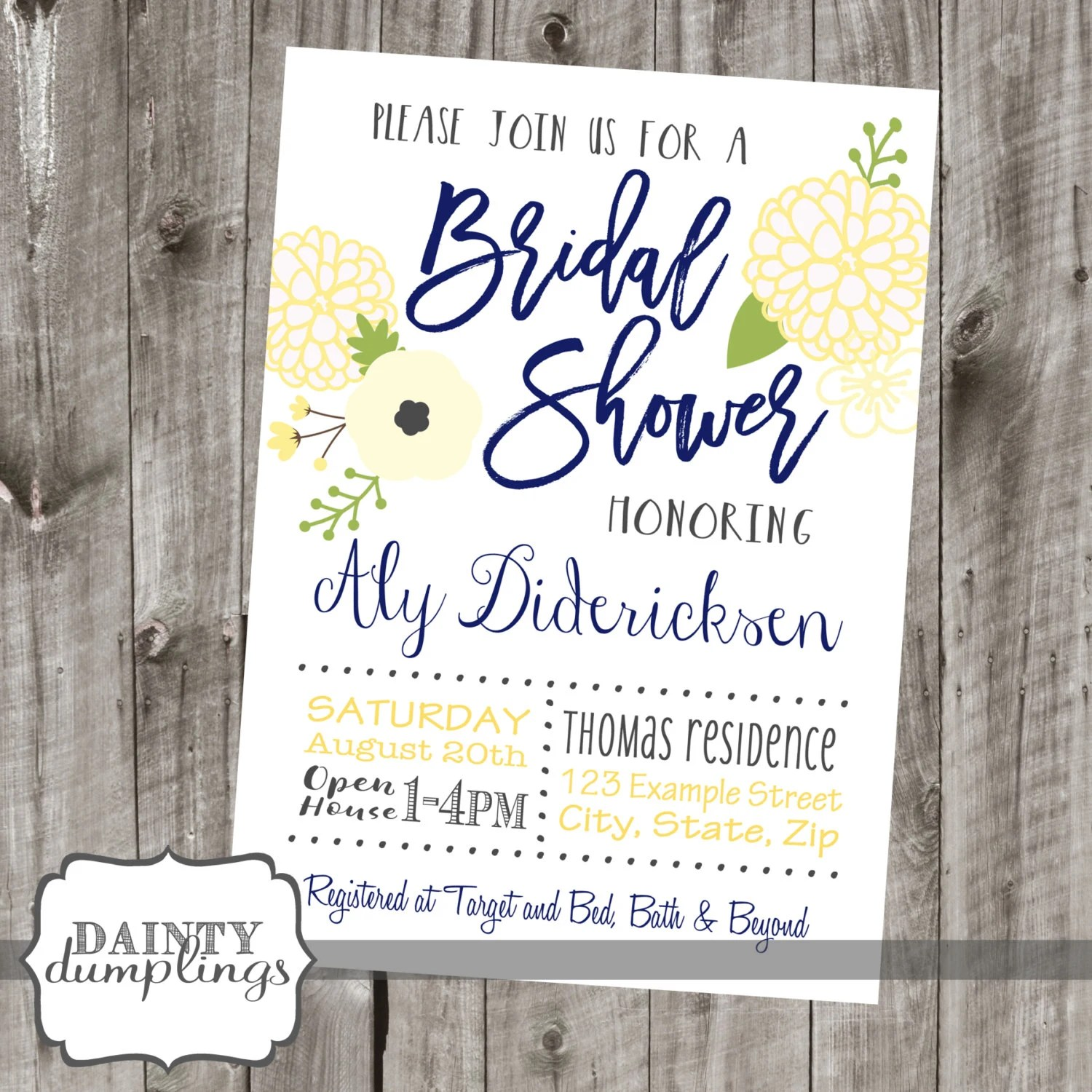 Bridal Shower Invitations Navy Blue And Yellow