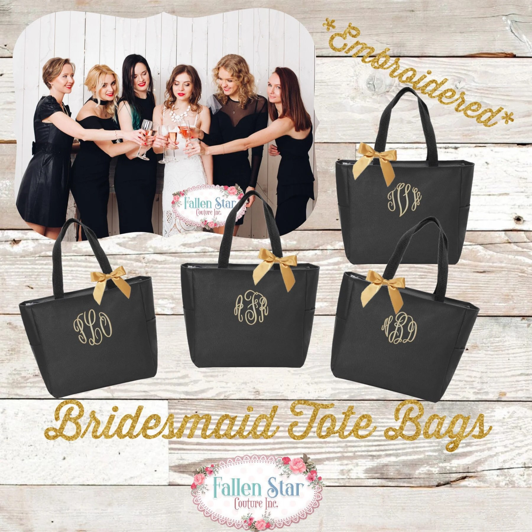 bridesmaid zipper tote bags