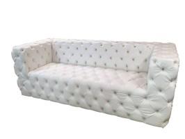 Custom Tufted Sofa White Faux Leather Sofa with ...