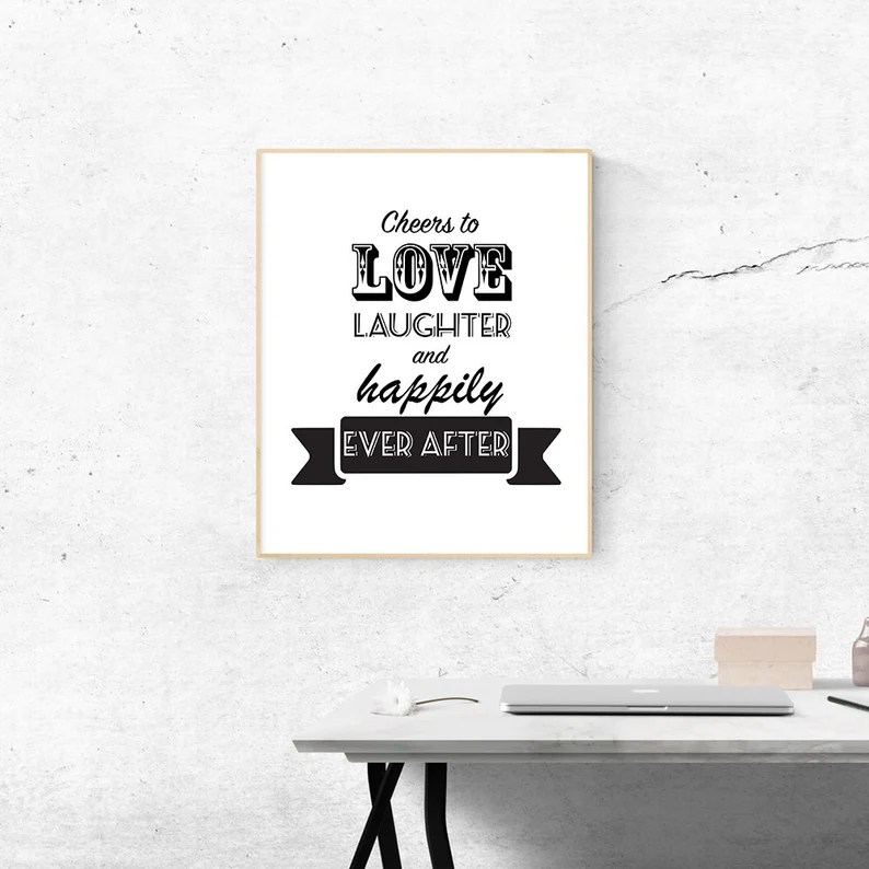 Cheers to Love Laughter and Happily Ever After Digital | Etsy